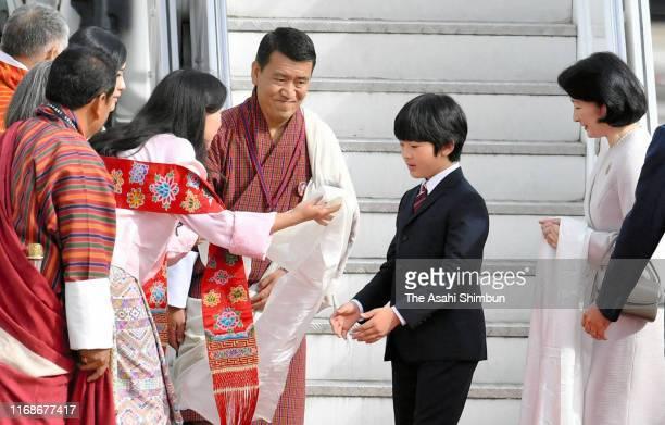 Crown Princess Kiko of Akishino and Prince Hisahito of Japan are welcomed by Princess Sonam Dechen Wangchuck Princess Dechen Yangzom Wangchuck of...