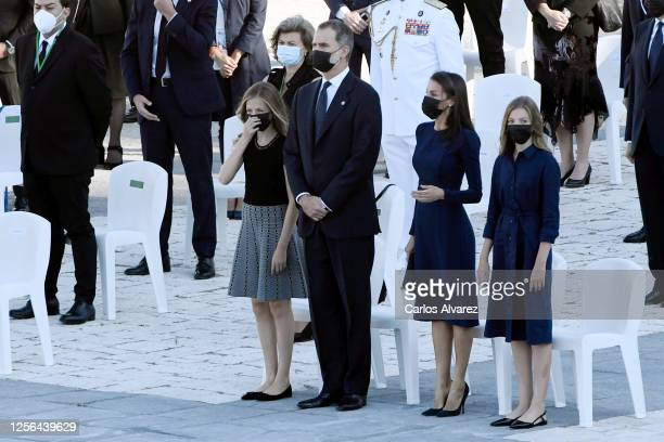 Crown Princess Leonor King Felipe of Spain Queen Letizia of Spain and Princess Sofia attend the State tribute to the victims of the coronavirus at...