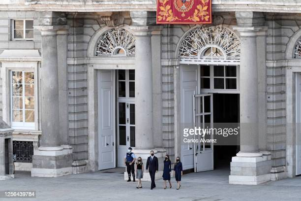 Crown Princess Leonor King Felipe of Spain Queen Letizia of Spain and Princess Sofia arrive to the State tribute to the victims of the coronavirus at...