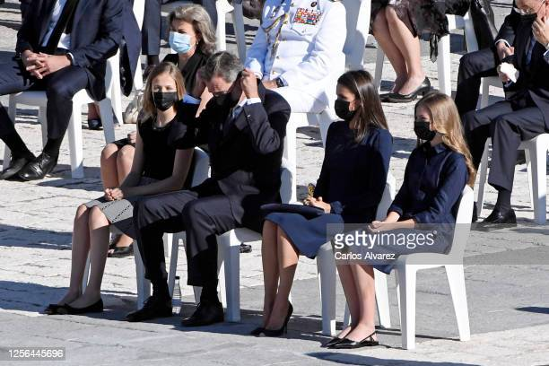 Crown Princess Leonor, King Felipe of Spain, Queen Letizia of Spain and Princess Sofia attend the State tribute to the victims of the coronavirus at...