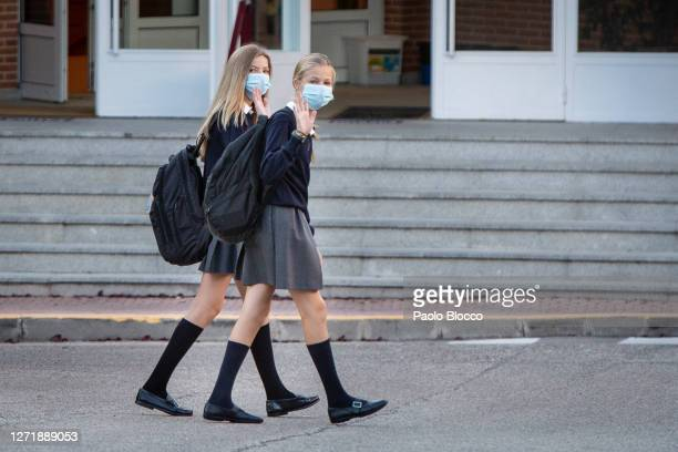 Crown Princess Leonor of Spain and Princess Sofia of Spain arrive at the 'Santa Maria de los Rosales' School on the first day of school on September...