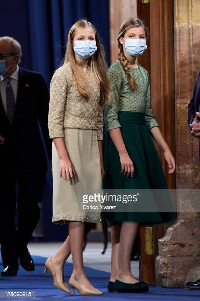 Crown Princess Leonor of Spain and Princess Sofia of Spain attend the Princesa de Asturias Awards 2020 ceremony at the Reconquista Hotel on October...