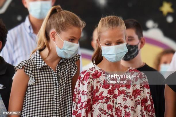 Crown Princess Leonor of Spain and Princess Sofia of Spain visit Naum, a Socio-Educational center on August 11, 2020 in Palma de Mallorca, Spain.