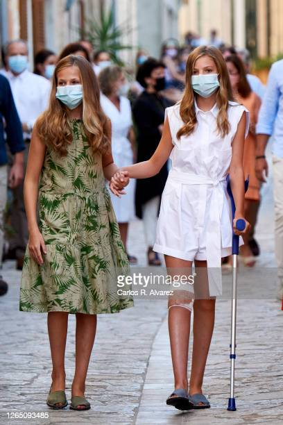 Crown Princess Leonor of Spain and Princess Sofia of Spain visit the Fray Junipero Serra birth house and museum on August 10, 2020 in Petra, Palma de...