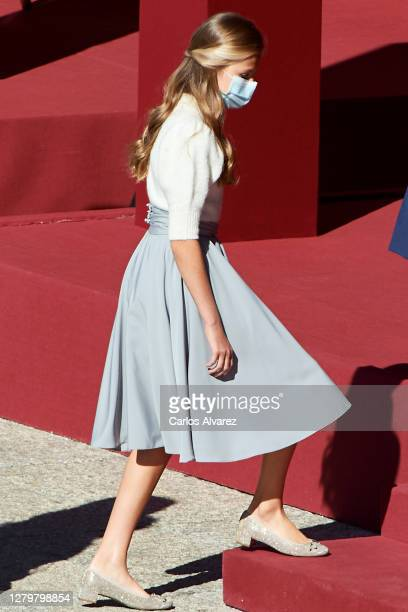Crown Princess Leonor of Spain attends the National Day Military Parade at the Royal Palace on October 12, 2020 in Madrid, Spain.