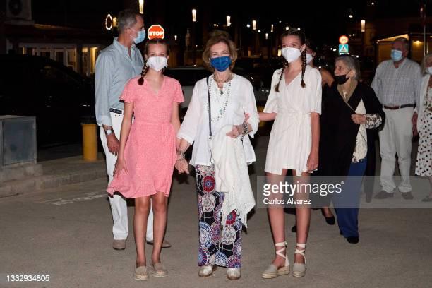 Crown Princess Leonor of Spain , Princess Sofia of Spain and Queen Sofia leave the Ola de Mar restaurant on August 07, 2021 in Palma de Mallorca,...