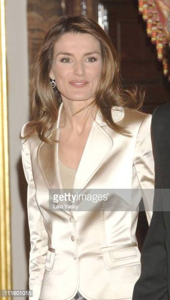 Crown Princess Letizia during Crown Prince Felipe and Crown Princess Letizia of Spain Preside at a Literary Lunch in Madrid April 20 2006 at Royal...