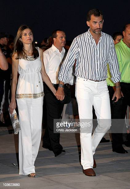 Crown Princess Letizia of Spain and Crown Prince Felipe attend a prewedding reception at the Poseidon Hotel on August 24 2010 in Spetses GreeceThe...