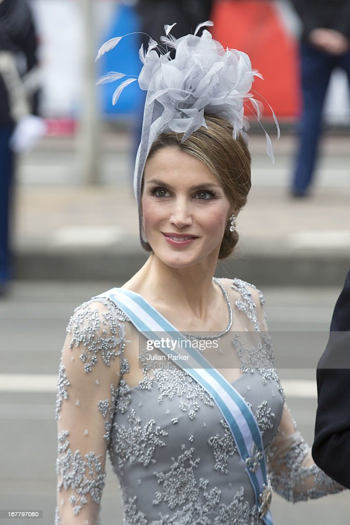 Crown Princess Letizia of Spain arrives at the Nieuwe Kerk in Amsterdam for the inauguration ceremony of King Willem Alexander of the Netherlands, on April 30, 2013 in Amsterdam, Netherlands.