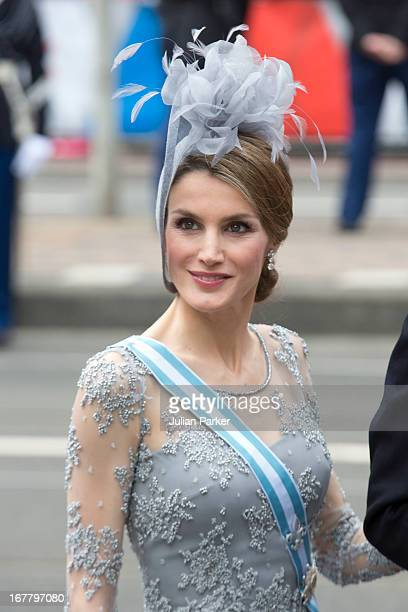 Crown Princess Letizia of Spain arrives at the Nieuwe Kerk in Amsterdam for the inauguration ceremony of King Willem Alexander of the Netherlands, on...