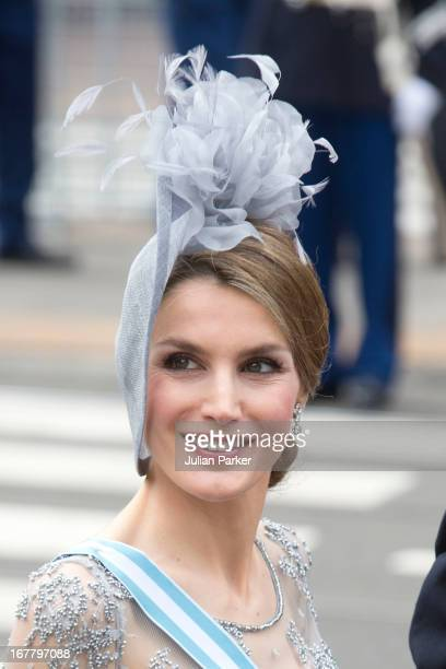 Crown Princess Letizia of Spain arrives at the Nieuwe Kerk in Amsterdam for the inauguration ceremony of King Willem Alexander of the Netherlands on...