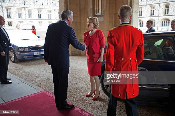 Crown Princess Margarita of Romania arrives at a lunch For Sovereign Monarchs in honour of Queen Elizabeth II's Diamond Jubilee at Windsor Castle on...