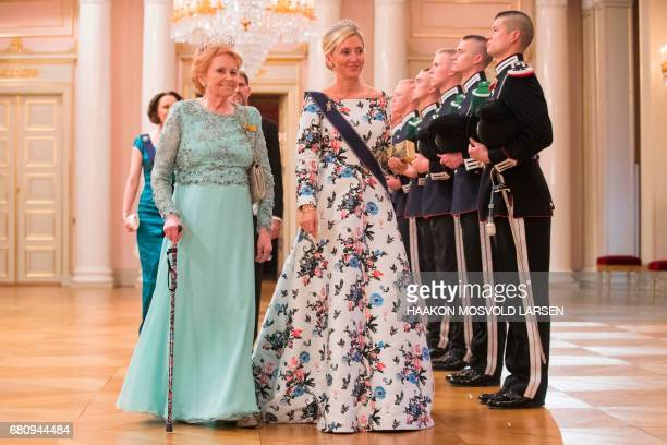 Crown princess Marie Chantal of Greece and Lady Elizabeth Shakerly of Great Britain arrive for a gala dinner at the Royal Palace in Oslo Norway on...