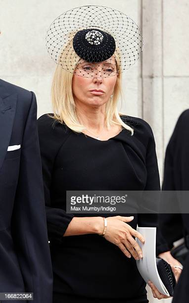 Crown Princess Marie Chantal of Greece attends the funeral of former British Prime Minister Baroness Margaret Thatcher at St Paul's Cathedral on...