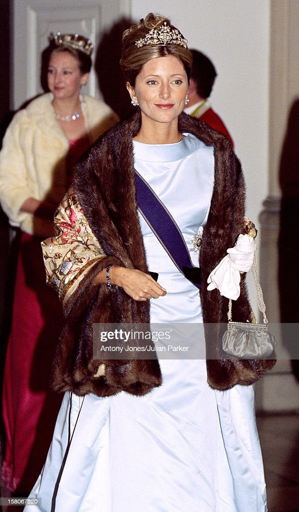 Crown Princess Marie Chantal Of Greece Attends The Wedding Of Prince Joachim & Princess Alexandra Of Denmark At Frederiksborg Castle. .