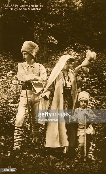 Crown Princess Marie of Romania , wife of the future King Ferdinand, with two of her children, Prince Carol and Prince Nicolas.