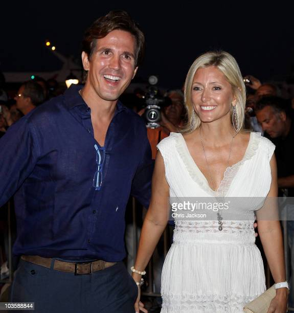 Crown Princess MarieChantal and Prince Pavlos of Greece attend a prewedding reception at the Poseidon Hotel on August 24 2010 in Spetses GreeceThe...
