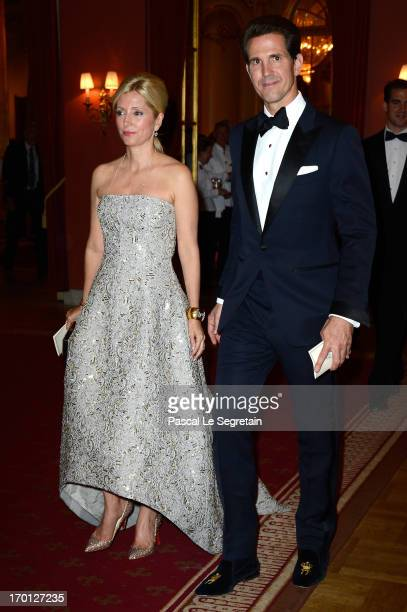 Crown Princess MarieChantal of Greece and Crown Prince Pavlos of Greece attend a private dinner on the eve of the wedding of Princess Madeleine and...
