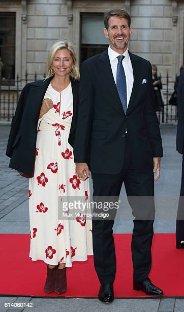 Crown Princess MarieChantal of Greece and Crown Prince Pavlos of Greece attend a reception and awards ceremony at the Royal Academy of Arts on...