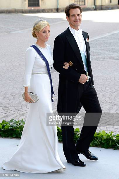 Crown Princess MarieChantal of Greece and Crown Prince Pavlos of Greece attend the wedding of Princess Madeleine of Sweden and Christopher O'Neill...