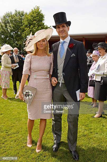 Crown Princess Marie-Chantal of Greece and Crown Prince Pavlos of Greece attend Derby Day at the Investec Derby Festival at Epsom Downs Racecourse on...
