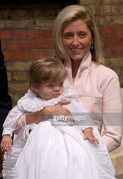 Crown Princess Marie-chantal Of Greece At The Christening Of Her Son Achileas Andraes At The Greek Cathedral Of Saint Sophia.