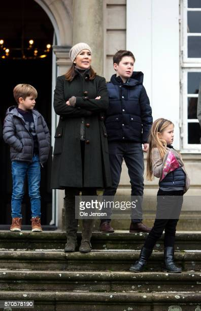Crown Princess Mary and children attends the yearly Hubertus Hunt at The Woodland Park 'Dyrehaven' on November 5 2017 in Klampenborg Denmark Some 160...