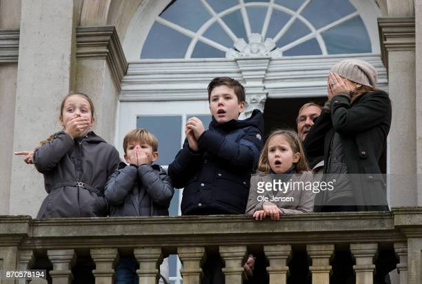 Crown Princess Mary and children witness with alarm at the Hermitage hunting lodge balcony that an official is hit by a fast running horse during the...