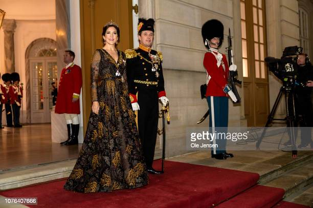 Crown Princess Mary and Crown Prince Frederik arrive at the Traditional New Year's Banquet hosted by the Danish Queen at Christian VII's Palace,...