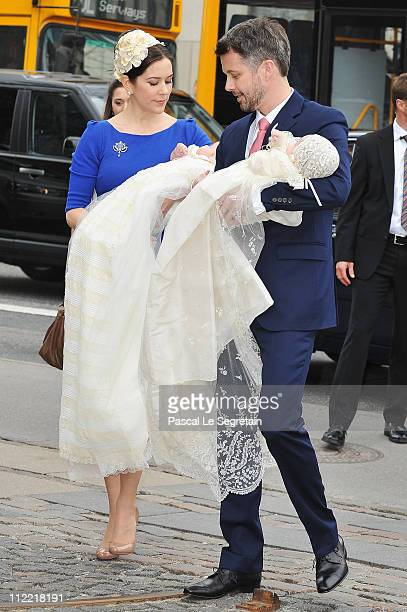 Crown Princess Mary and Crown Prince Frederik arrive to attend the christening of their twins at Holmens Kirke on April 14 2011 in Copenhagen Denmark