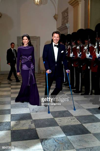 Crown Princess Mary and Crown Prince Frederik attend the Culture and Sport Gala Evening at Christiansborg Castle on March 17, 2009 in Copenhagen,...