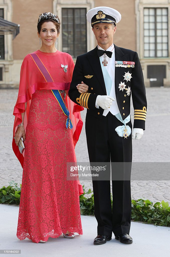 Crown Princess Mary and Crown Prince Frederik attend the wedding of Princess Madeleine of Sweden and Christopher O'Neill hosted by King Carl Gustaf XIV and Queen Silvia at The Royal Palace on June 8, 2013 in Stockholm, Sweden.