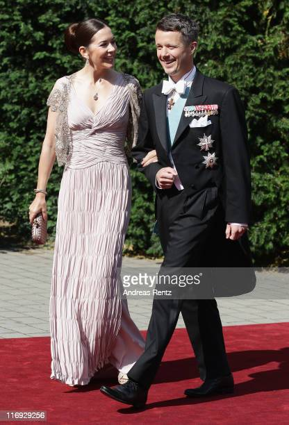 Crown Princess Mary and Crown Prince Frederik of Denmark arrive for the wedding of Princess Nathalie zu SaynWittgensteinBerleburg and Alexander...