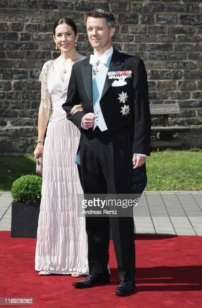 Crown Princess Mary and Crown Prince Frederik of Denmark arrive for the wedding of Princess Nathalie zu SaynWittgensteinBerleburg and Alexander...