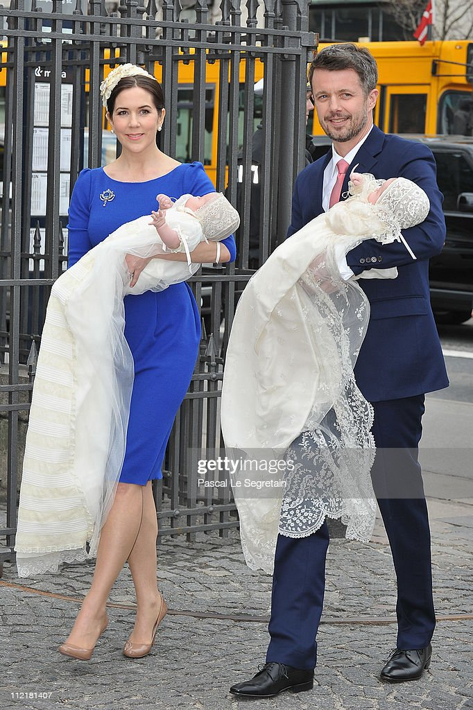 Crown Princess Mary (L) and Crown Prince Frederik of Denmark (R) arrive to attend the christening of their twins at Holmens Kirke on April 14, 2011 in Copenhagen, Denmark.