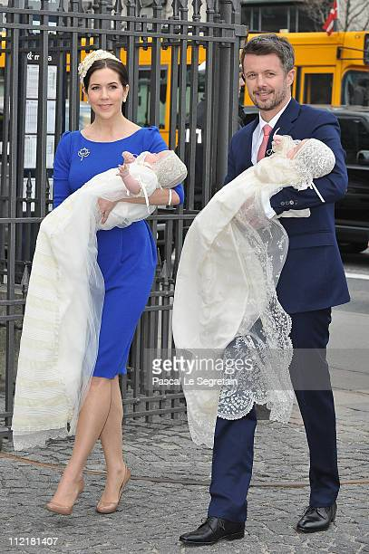 Crown Princess Mary and Crown Prince Frederik of Denmark arrive to attend the christening of their twins at Holmens Kirke on April 14 2011 in...