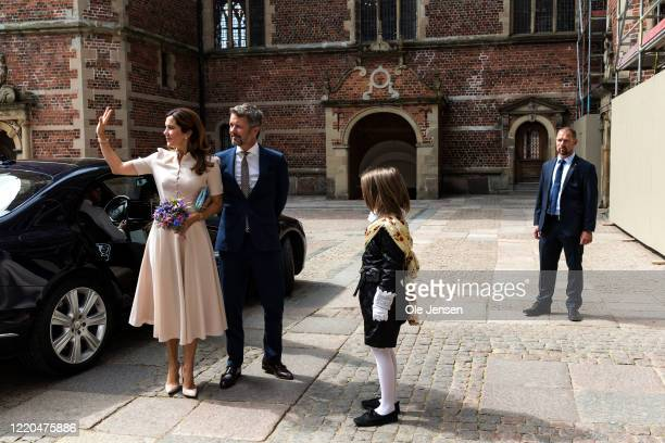 "Crown Princess Mary and Crown Prince Frederik of Denmark arrive to the exhibition opening of ""The Faces of the Queen"" celebrating Queen Margrethe II..."