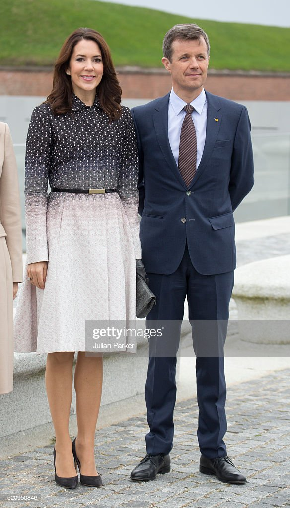 Crown Princess Mary and Crown Prince Frederik of Denmark during a visit to Kronberg Castle, and the M/S Maritime Museum of Denmark, during the State visit of the President of The United Mexican States, President Enrique Pena Nieto, and his wife Angelica Rivera to Denmark on April 13, 2016, in Helsingor, Denmark