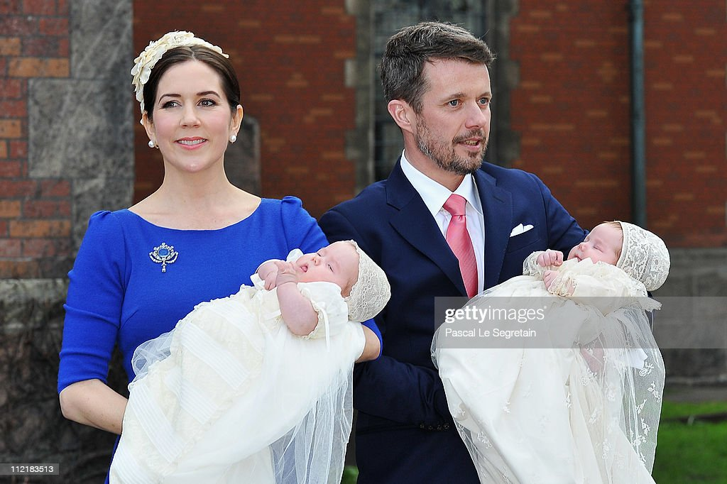 Crown Princess Mary (L) and Crown Prince Frederik of Denmark (R pose after the christening of their twins Prince Vincent and Princess Josephine at Holmens Kirke on April 14, 2011 in Copenhagen, Denmark.