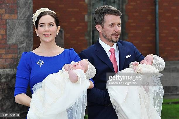 Crown Princess Mary and Crown Prince Frederik of Denmark (R pose after the christening of their twins Prince Vincent and Princess Josephine at...