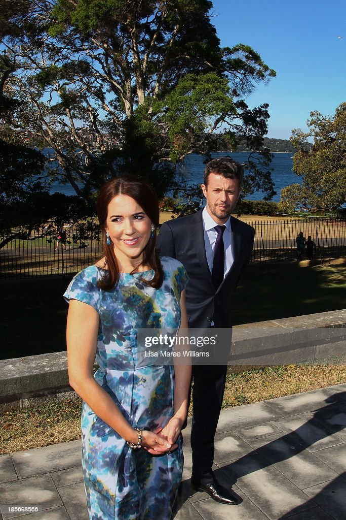 Crown Princess Mary and Crown Prince Frederik of Denmark speak address the media in the gardens of Government House on October 24, 2013 in Sydney, Australia. Prince Frederik and Princess Mary will visit Sydney for five days and will attend events to celebrate the 40th anniversary of the Sydney Opera House and the Danish architect who designed the landmark, Jorn Utzen.