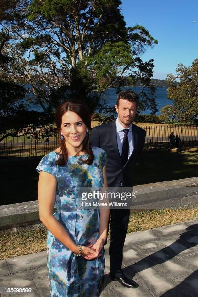 Crown Princess Mary and Crown Prince Frederik of Denmark speak address the media in the gardens of Government House on October 24 2013 in Sydney...