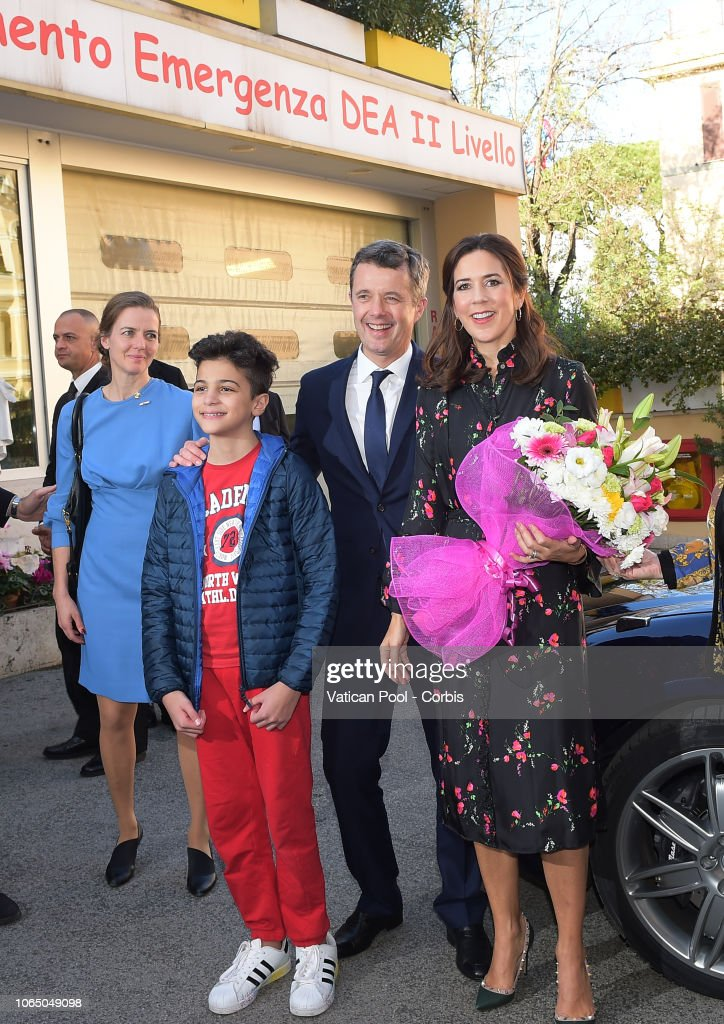 Crown Princess Mary and Crown Prince Frederik Of Denmark Visit 'Bambin Gesu' Pediatric Hospital... : News Photo