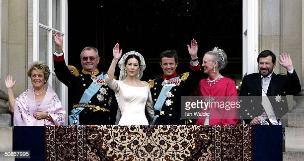 Crown Princess Mary and Crown Prince Frederik Queen Margrethe II of Denmark and Prince Henrik Mary's father John Donaldson and his wife Susan Moody...