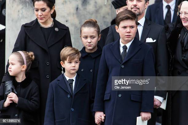 Crown Princess Mary and her children Prince Christian Princess Isabella Prince Vincent and Princess Josephine attend as the coffin of Prince Henrik...