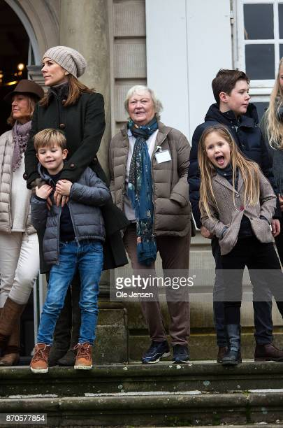 Crown Princess Mary and Prince Vincent Prince Christian and Princess Isabella during the yearly Hubertus Hunt at The Woodland Park 'Dyrehaven' on...
