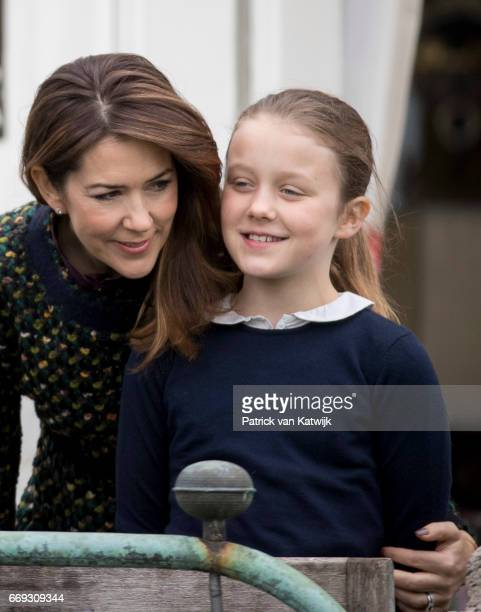 Crown Princess Mary and Princess Isabella of Denmark attend the 77th birthday celebrations of Danish Queen Margrethe at Marselisborg Palace on April...