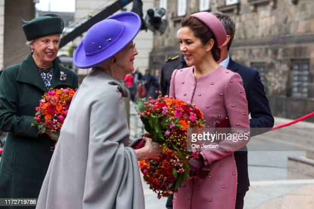 Crown Princess Mary and Queen Margrethe of Denmark attend the opening of Parliament on October 1, 2019 in Copenhagen, Denmark. In keeping with...