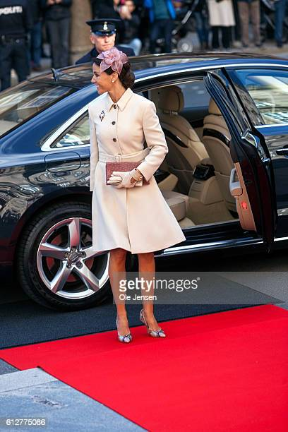 Crown Princess Mary arrives to the Parliament where she and the rest of the Royal family will attend the opening of the Parliament at Christiansborg...