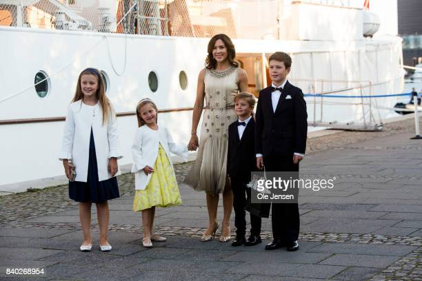 Crown Princess Mary arrives with her children at the dinner party to celebrate the 18th birthday of Prince Nokolai hosted by Queen Margrethe of...